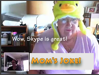 My mom wearing a duck hat over skype