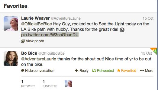 Bo Bice Tweets to Adventure Laurie
