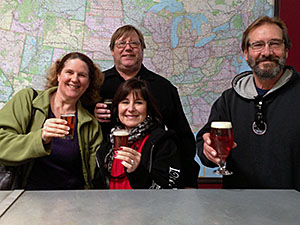 Laurie, Mark, Julie and Jeff tasting brew at Mother Earth Brew Co.