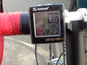 Bike computer shows the time of the ride. 59:22 minutes